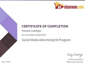Social Media Advertising Program Certificate