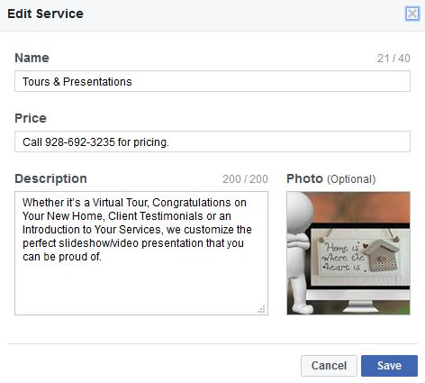 Add a Service to your Facebook Business Page