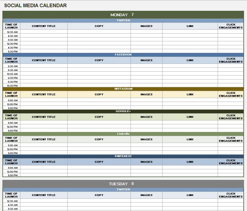 Social Media Scheduling - Planning Calendar Example