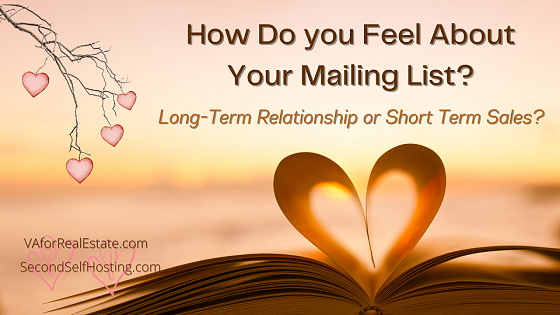 How Do you Feel About Your Mailing List? Long-Term Relationship or Short Term Sales?